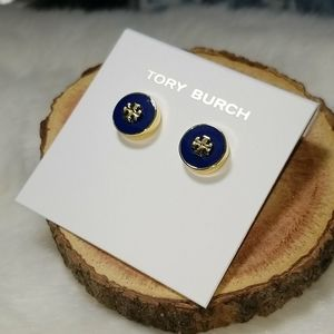 Tory Burch blue enamel stud earrings